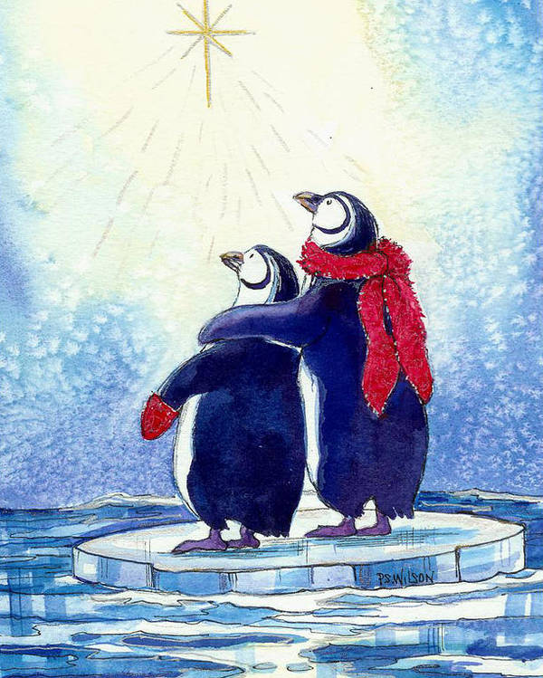 Penguins Poster featuring the painting Penquins An Christmas Star by Peggy Wilson
