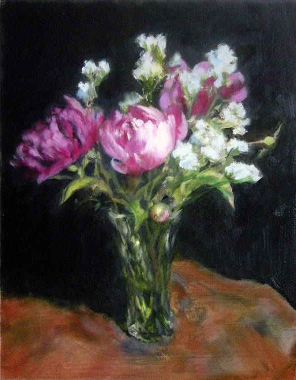 Floral Poster featuring the painting Peonies In A Glass Vase by Jill Brabant