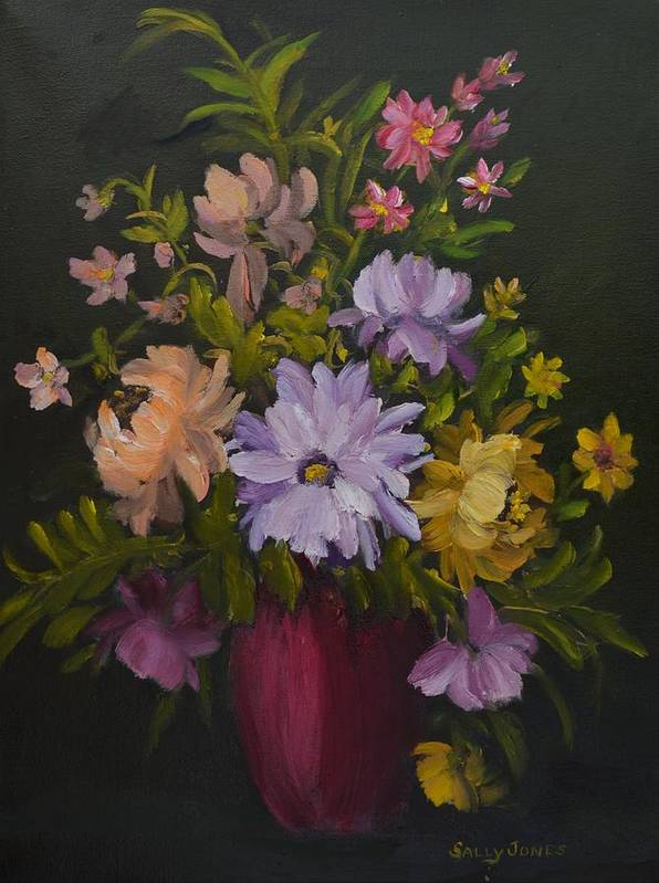 Red Vase Still Life Poster featuring the painting Peonies In A Red Vase by Sally Jones