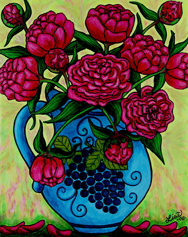 Peonies Poster featuring the painting Peony Party by Lisa Lorenz