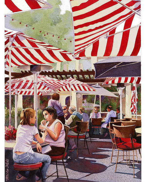 Restaurant Cafe Red White Stripes Umbrellas Shadows Eat Drink San Diego Warm Peppermint Candy Stripe Poster featuring the painting Peppermint Moment by Mike Hill
