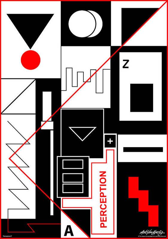 Perception Poster featuring the digital art Perception II - Text by Asbjorn Lonvig