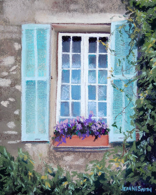 Provence Poster featuring the pastel Perched Purples by Jeanne Rosier Smith