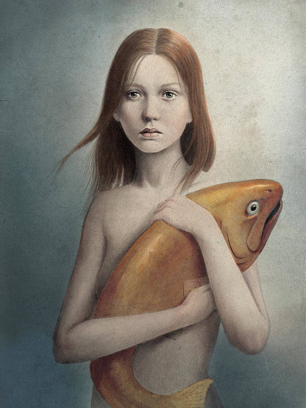 Woman Poster featuring the digital art Pet by Diego Fernandez