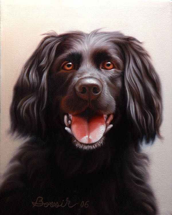 Black Labrador Poster featuring the painting Pet Portrait Of A Black Labrador by Eric Bossik