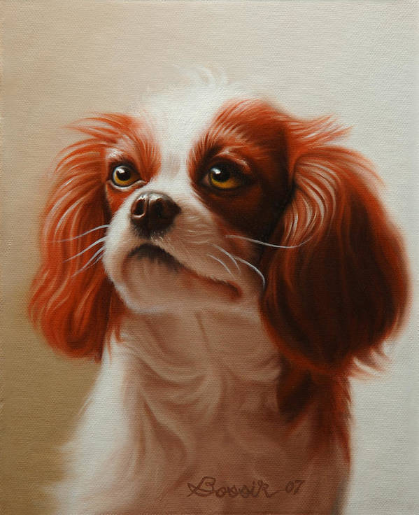 Cavalier King Charles Poster featuring the painting Pet Portrait of a Cavalier King Charles Spaniel by Eric Bossik