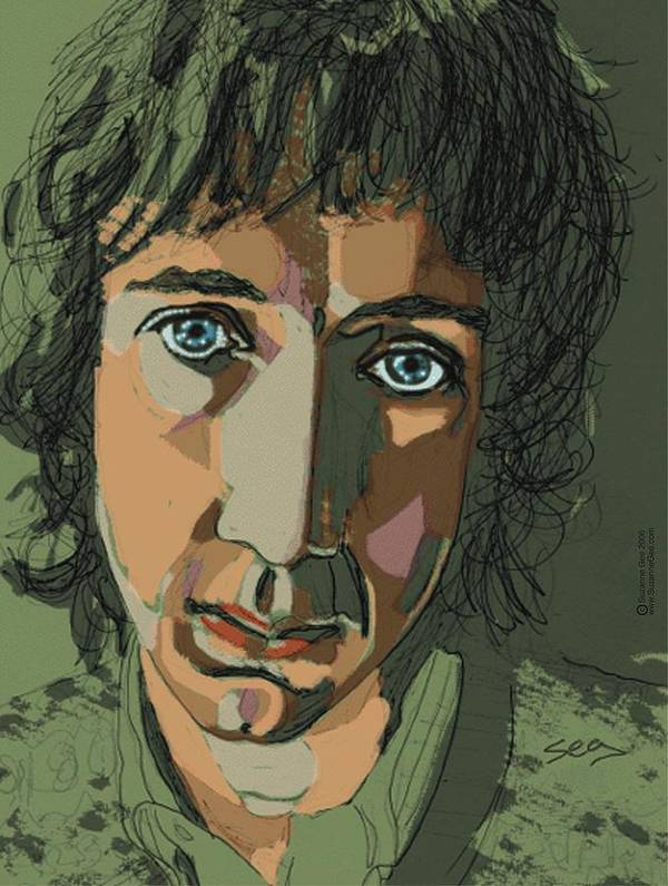 Pete Townshend Poster featuring the painting Pete Townshend - Behind Blue Eyes by Suzanne Gee
