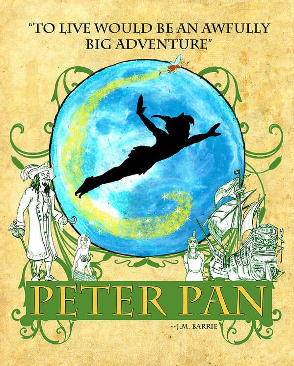 Peter Pan Poster featuring the digital art Peter Pan Tribute by William Depaula