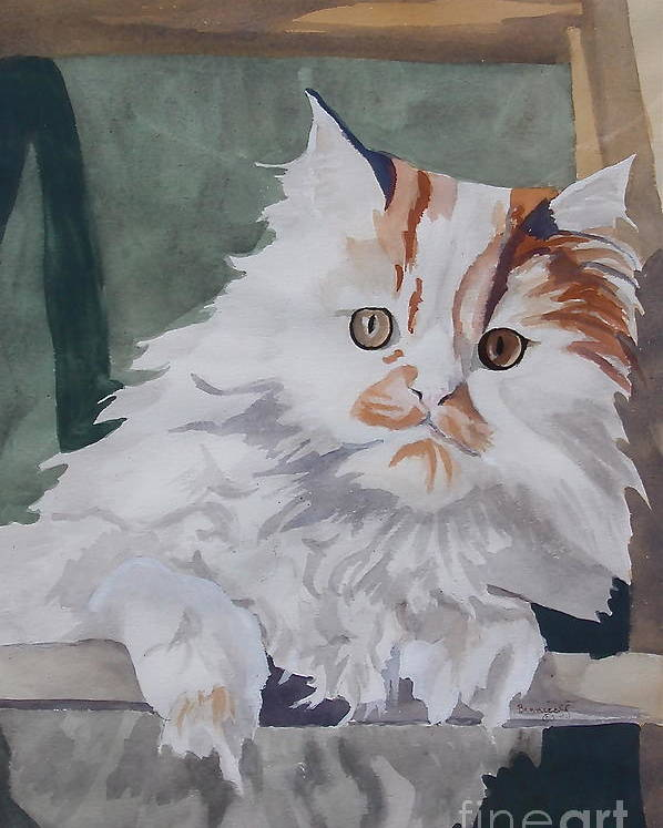 Persian Cat Poster featuring the painting Peter's Ladder by Jan Bennicoff