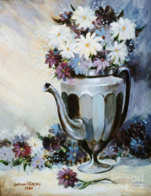Pewter Poster featuring the painting Pewter Coffee Pot And Daisies by JoAnne Corpany