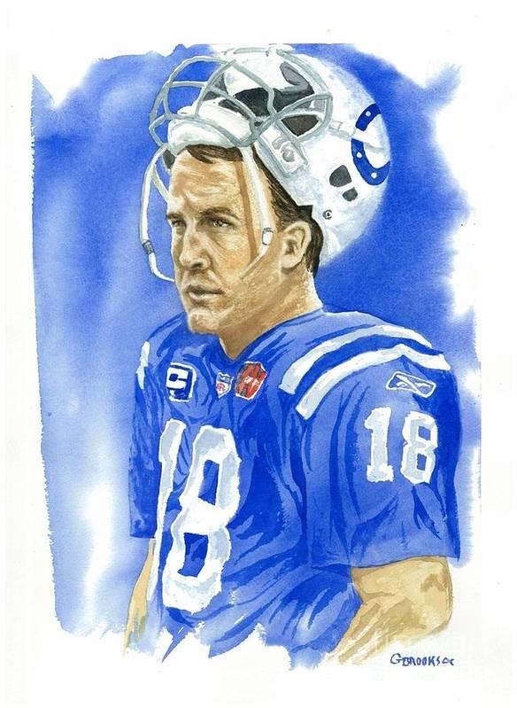 Peyton Manning Poster featuring the painting Peyton Manning - Heart Of The Champion by George Brooks