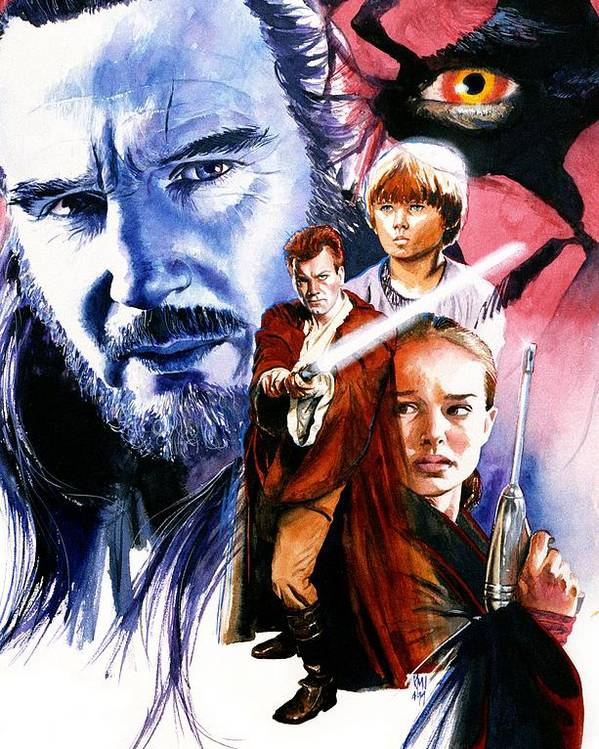 Star Wars Poster featuring the painting Phantom Menace by Ken Meyer