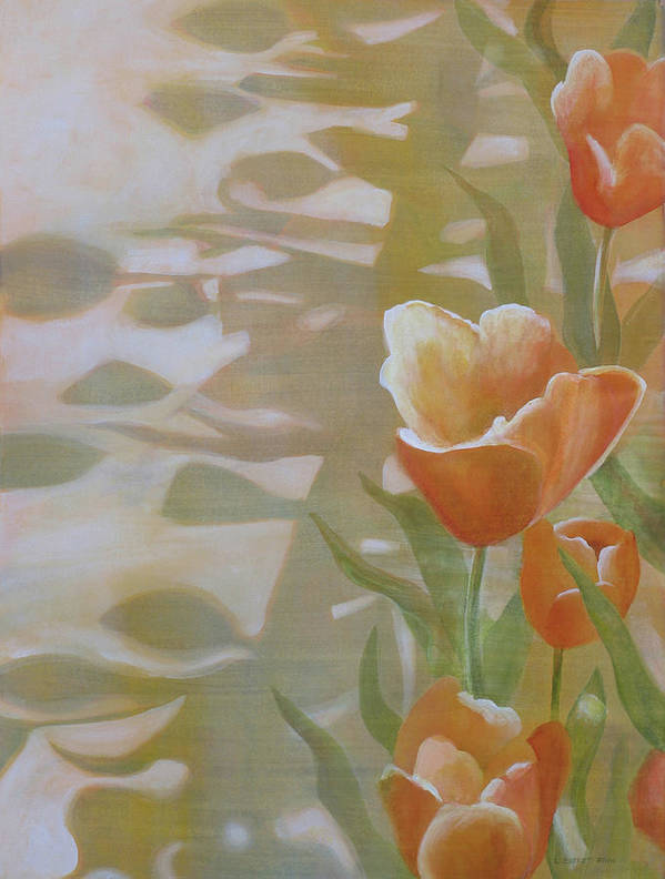 Floral Poster featuring the painting Phantom Tulips by Lauren Everett Finn