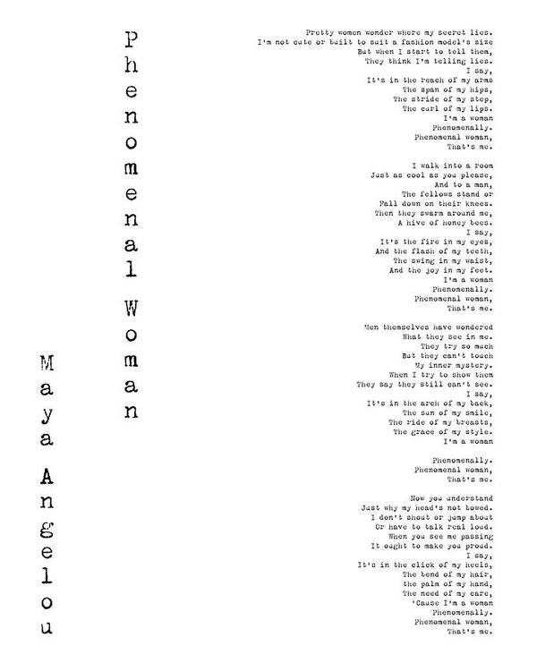 Phenomenal Woman By Maya Angelou Feminism Poetry Poster