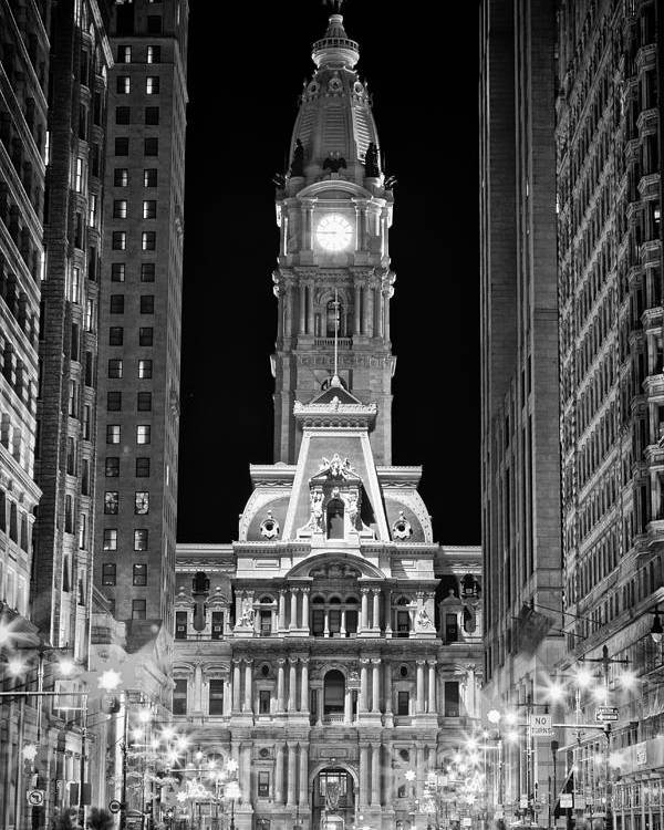 Us Poster featuring the photograph Philadelphia City Hall At Night by Val Black Russian Tourchin