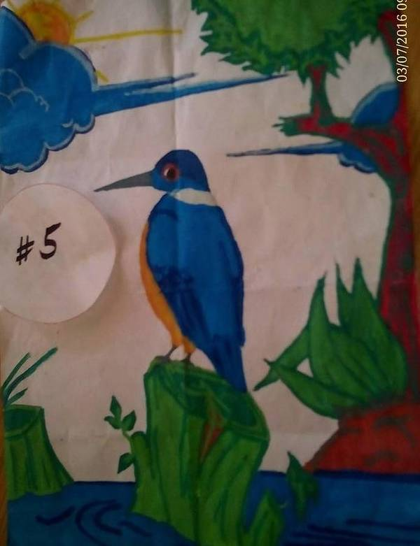 Poster featuring the painting Philippine Kingfisher Painting Contest 6 by Carmela Maglasang