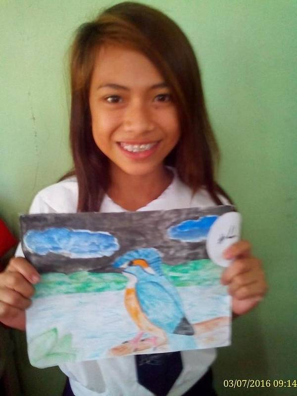 Poster featuring the painting Philippine Kingfisher Painting Contest 7 by Carmela Maglasang