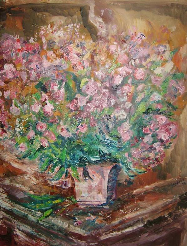 Still Life Flowers Poster featuring the painting Phlox by Joseph Sandora Jr