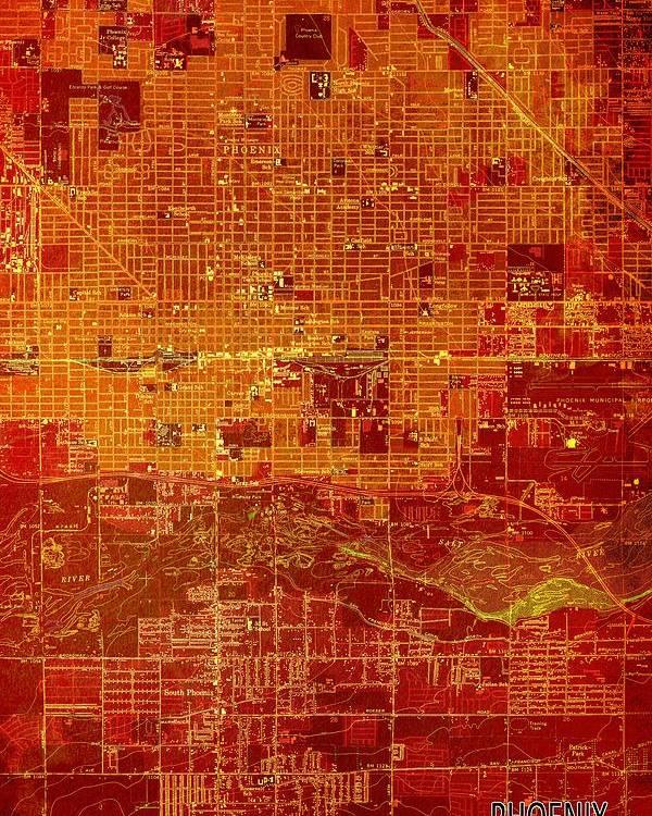 Map Of Old Arizona.Phoenix Arizona 1952 Red And Orange Old Map Poster