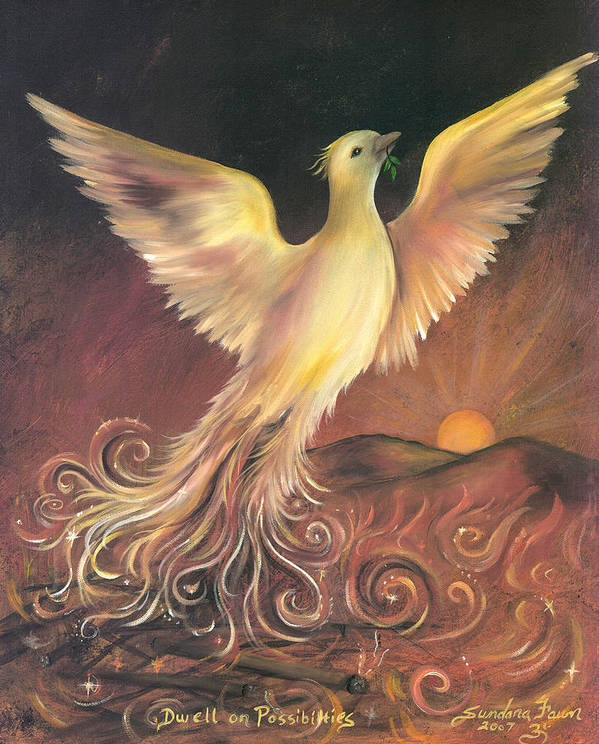 Phoenix Poster featuring the painting Phoenix Rising by Sundara Fawn