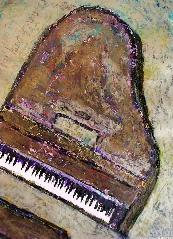 Piano Poster featuring the painting Piano In Bronze by Anita Burgermeister