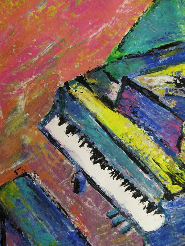 Music Poster featuring the painting Piano With Yellow by Anita Burgermeister