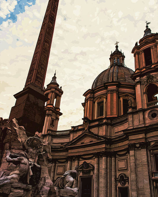 Rome Poster featuring the painting Piazza Navona At Sunset, Rome by Andrea Mazzocchetti