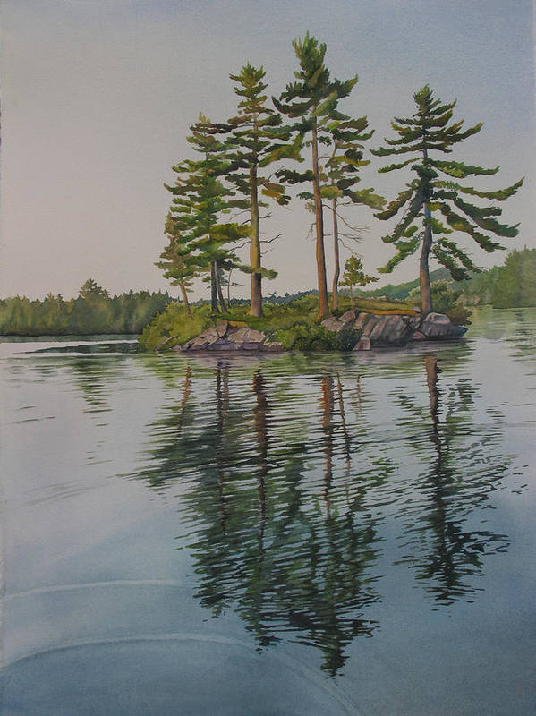 Lake Poster featuring the painting Picnic Island At Dawn by Debbie Homewood