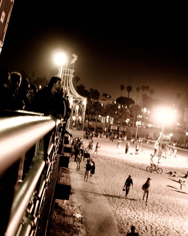 Santa Monica Poster featuring the photograph Pier At Night by Ronald Talley