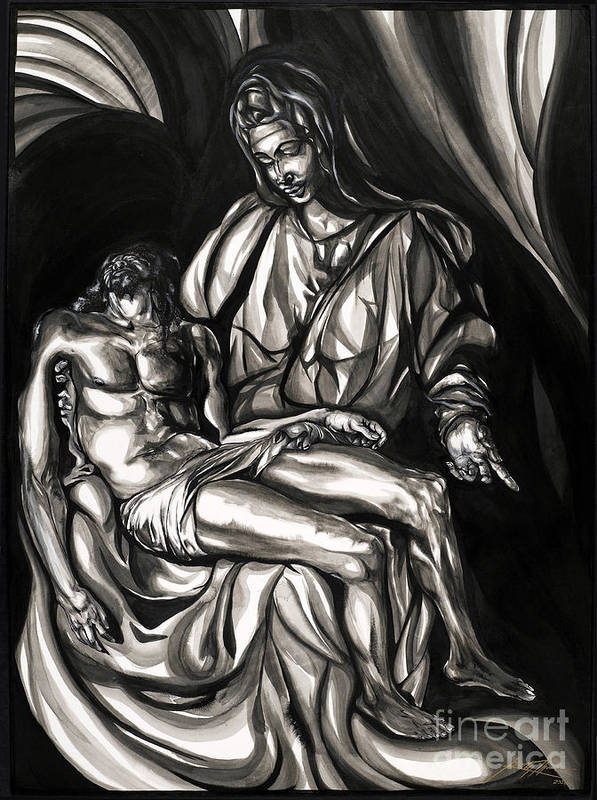 Portrait Poster featuring the painting Pieta by Keith Thurman