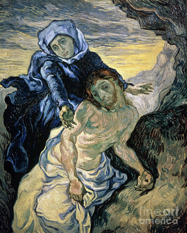 Pieta Poster featuring the painting Pieta by Vincent van Gogh