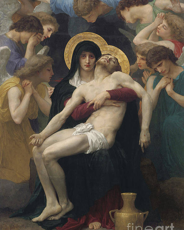 Pieta Poster featuring the painting Pieta by William-Adolphe Bouguereau