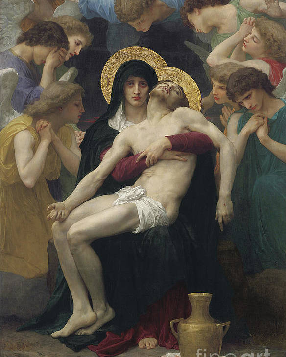 Pieta Poster featuring the painting Pieta by William Adolphe Bouguereau