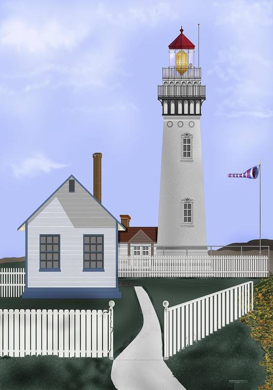 Lighthouse Poster featuring the painting Pigeon Point Lighthouse California by Anne Norskog