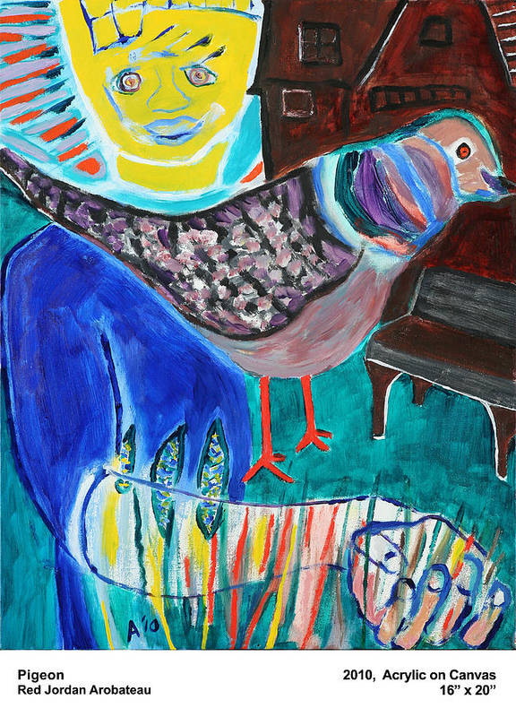 Pigeon Poster featuring the painting Pigeon by Red Jordan Arobateau