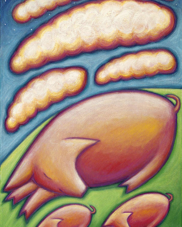 Whimsical Poster featuring the painting Pigs Peace by Mary Anne Nagy