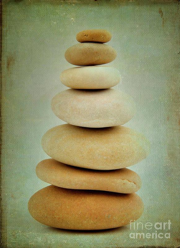 Balanced Poster featuring the photograph Pile Of Stones by Bernard Jaubert