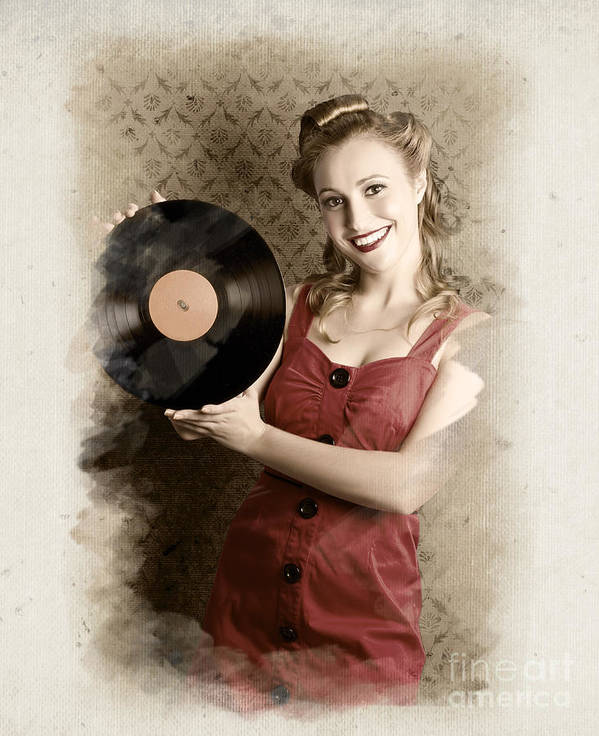 50s Poster featuring the photograph Pin-up Rockabilly Woman Holding Vinyl Record Lp by Jorgo Photography - Wall Art Gallery