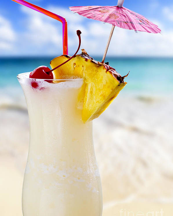 Pina Colada Poster featuring the photograph Pina Colada Cocktail On The Beach by Elena Elisseeva