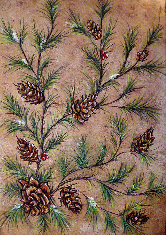 Acrylic Poster featuring the painting Pine Cones And Spruce Branches by Nancy Mueller