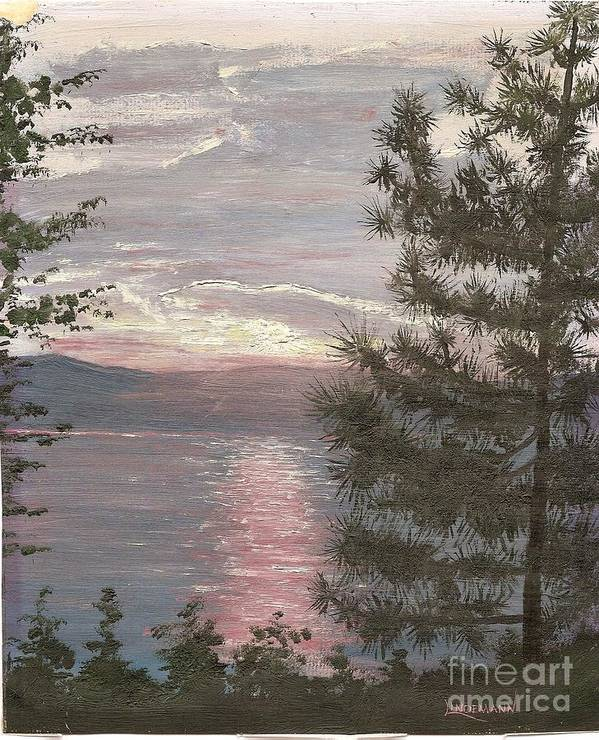 Lake Poster featuring the painting Piney Lake by Don Lindemann