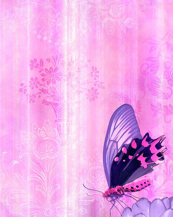 Butterfly Poster featuring the painting Pink And Purple Butterfly Companions 2 by JQ Licensing