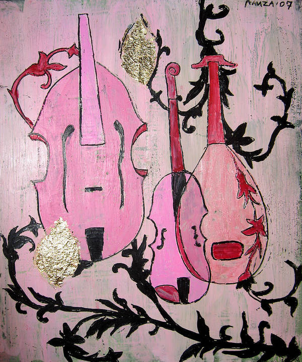 Baroque Poster featuring the painting Pink Baroque by Aliza Souleyeva-Alexander