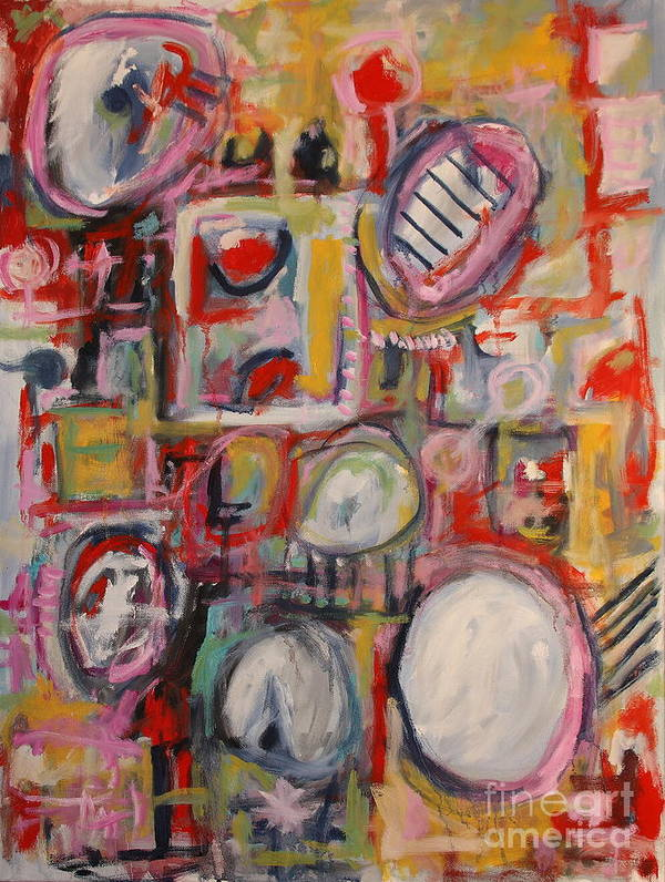 Abstract Poster featuring the painting Pink Crowd by Michael Henderson