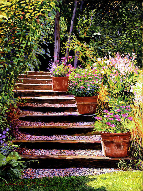 Gardens Poster featuring the painting Pink Daisies Wooden Steps by David Lloyd Glover