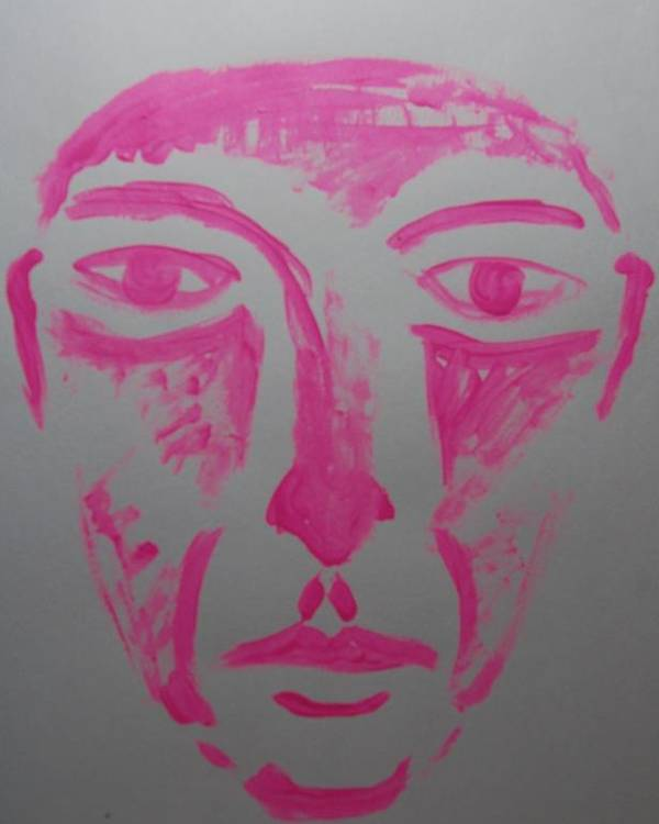Face Poster featuring the painting Pink Face by Lisa Kleiner