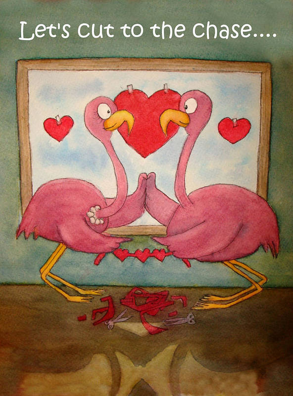 Pink Poster featuring the painting Pink Flamingo Couple In Love Let's Cut To The Chase by Kerra Lindsey