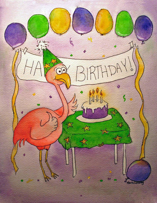 Pink Poster featuring the painting Pink Flamingo Happy Birthday Cake Watercolor by Kerra Lindsey