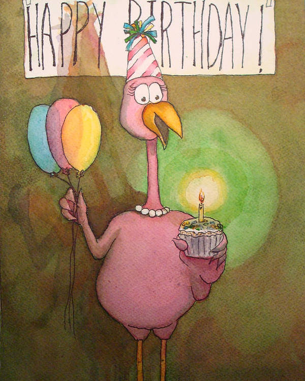 Pink Poster featuring the painting Pink Flamingo Happy Birthday Watercolor Cupcake by Kerra Lindsey