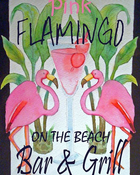 Pink. Flamingo Poster featuring the painting Pink Flamingos On The Beach Bar and Grill by Kerra Lindsey